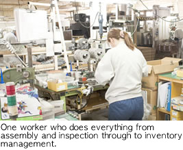 Worker doing everything from assembly and inspection through to inventory management on her own.